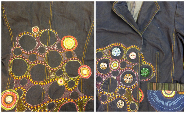 back and front of appliqued jacket