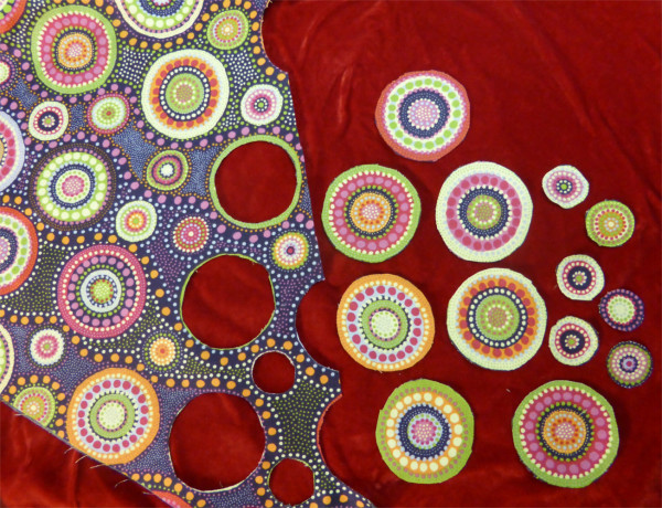 fabric with cut out circles